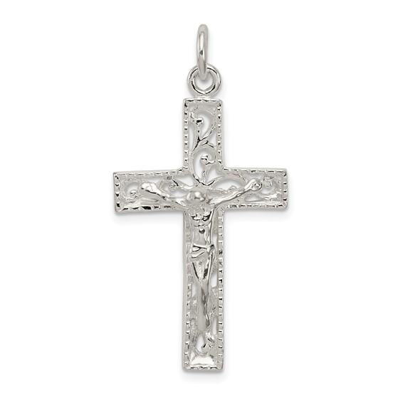 1 3/16in INRI Crucifix Charm - Sterling Silver