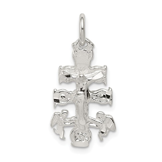 3/4in Cara Vaca Crucifix Charm - Sterling Silver