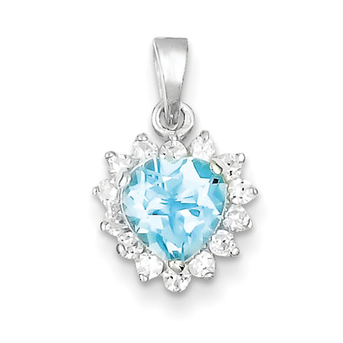 6x6mm Blue Topaz & CZ Heart Pendant - Sterling Silver