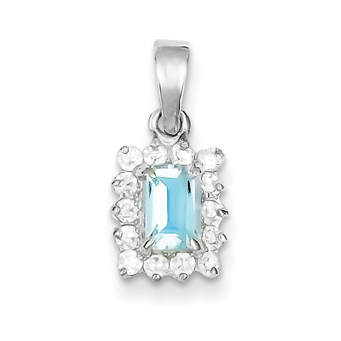 5x3mm Blue Topaz & CZ Pendant - Sterling Silver