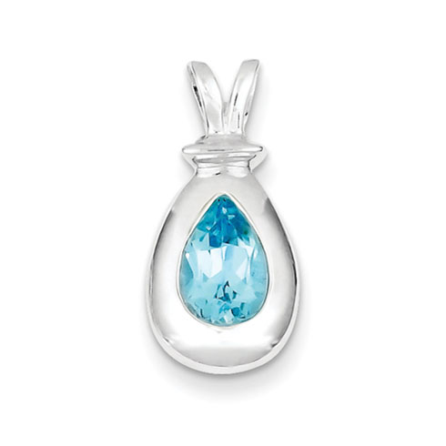 8x6mm Blue Topaz Pendant - Sterling Silver