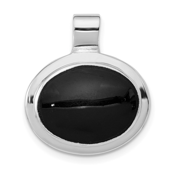Sterling Silver Oval Onyx Pendant