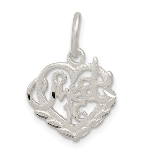 Sterling Silver 1/2in Sweet 16 Charm
