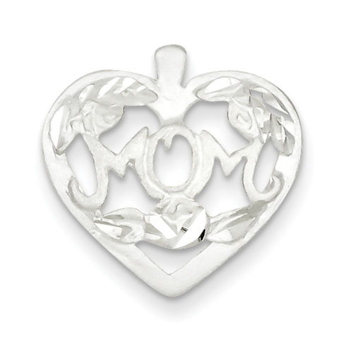 Sterling Silver MOM Heart Charm with Flowers