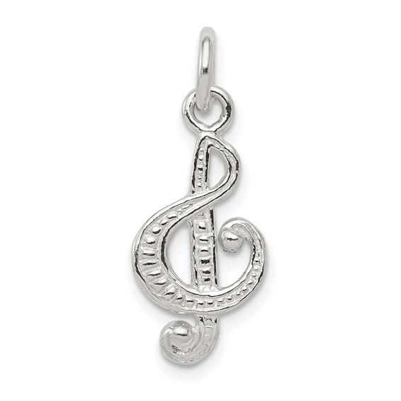 Sterling Silver Textured Treble Clef Charm