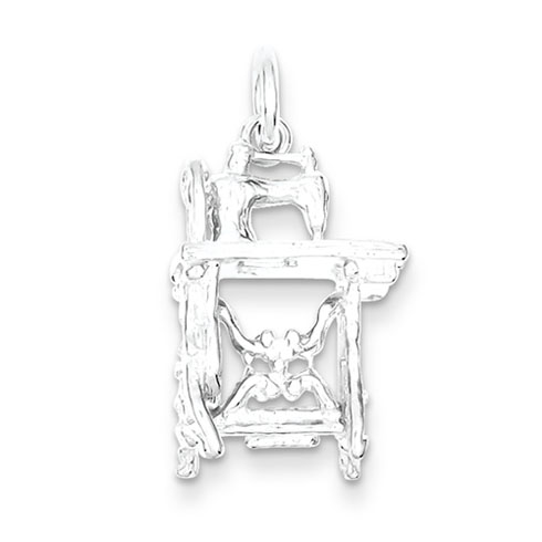Sterling Silver Sewing Machine Charm 3/4in