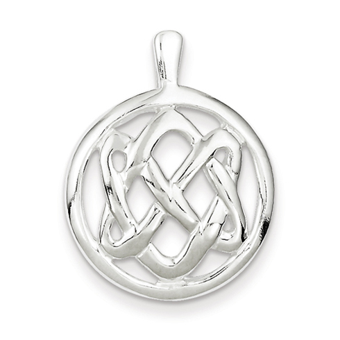 Sterling Silver 15/16in Round Celtic Knot Pendant