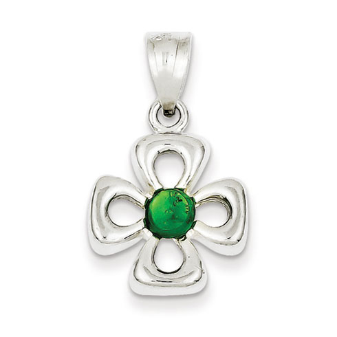 Sterling Silver Green Synthetic Stone Charm