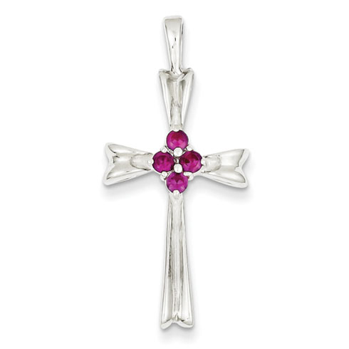 Sterling Silver 1 3/16in Red CZ Cross Pendant