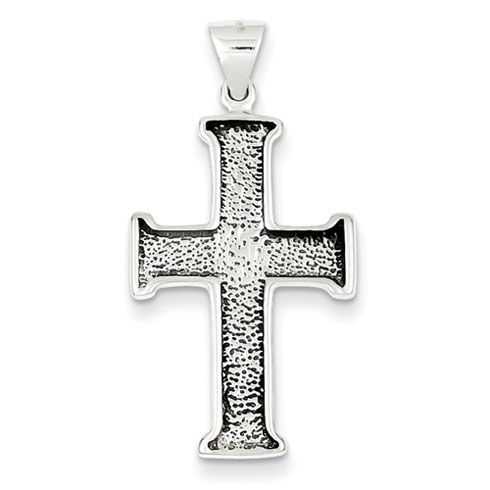 Sterling Silver 1in Antiqued Textured Cross Pendant