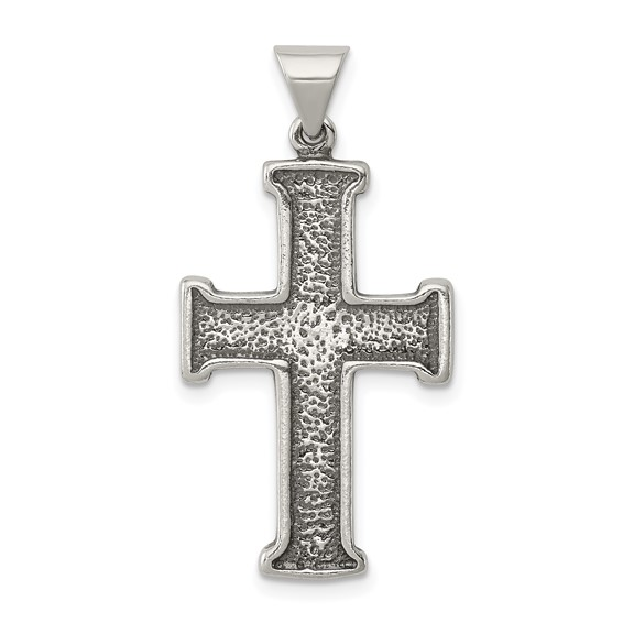 1in Antiqued Cross Pendant - Sterling Silver