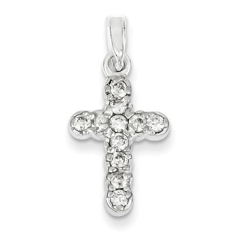 13/16in CZ Cross - Sterling Silver