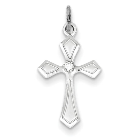 78in Sterling Silver Cross with CZs