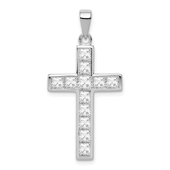 Sterling Silver 1in CZ Cross