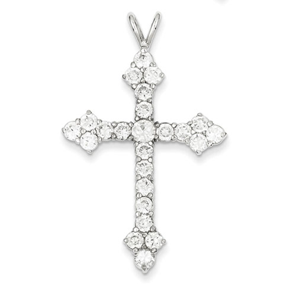 1 1/2in CZ Cross - Sterling Silver