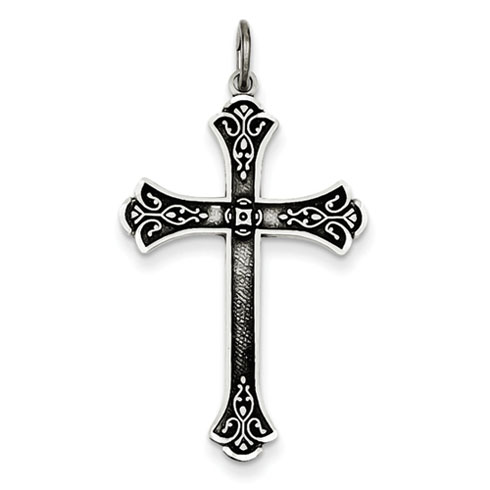 Sterling Silver 3/4in Oxidized Diamond-Cut Cross