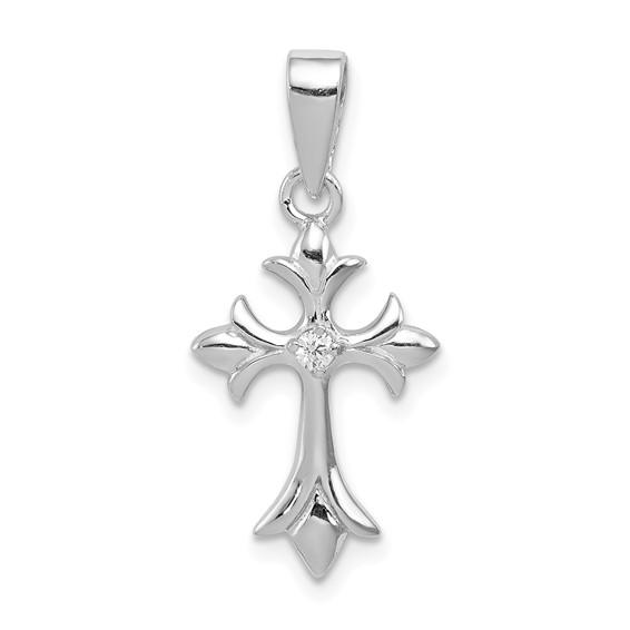 1in CZ Cross Pendant - Sterling Silver