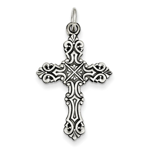 Sterling Silver 1 1/4in Antique Budded Cross