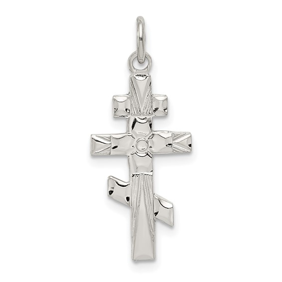 Sterling Silver 7/8in Eastern Orthodox Cross
