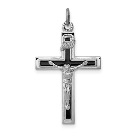 Sterling Silver 1in Enameled INRI Crucifix