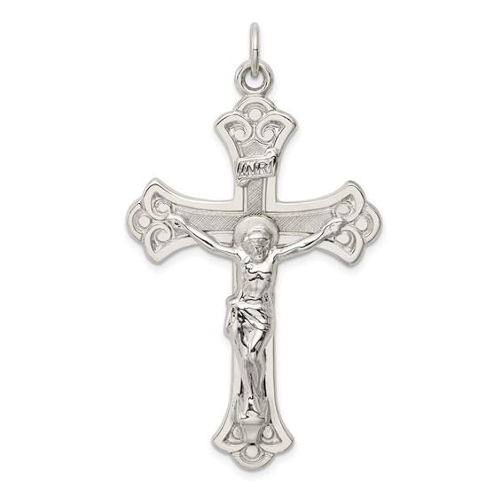Sterling Silver 1 3/4in Budded INRI Crucifix