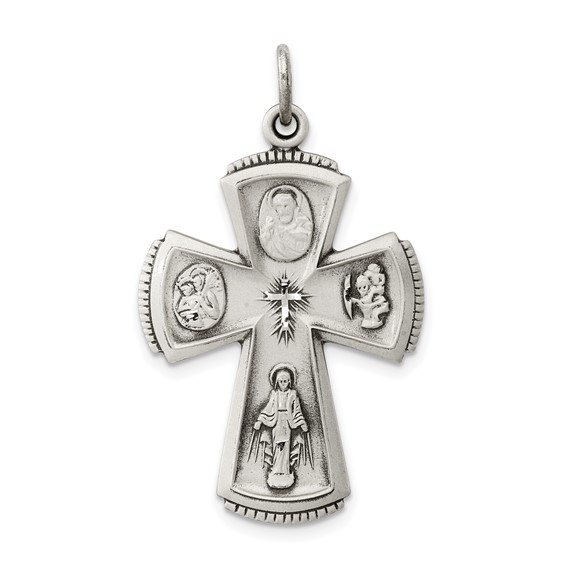 Four Way Medal Cross 1 1/8in - Sterling Silver