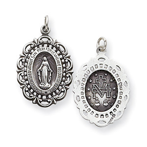 Sterling Silver 7/8in Scalloped Edge Miraculous Medal