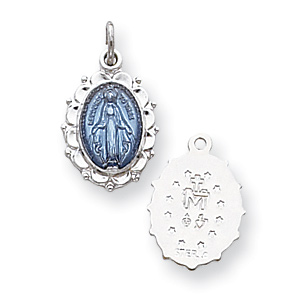 Sterling Silver 9/16in Blue Miraculous Medal