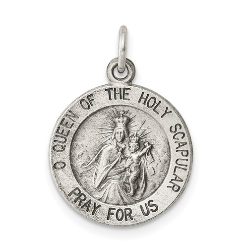 Sterling Silver 5/8in Round Holy Scapular Medal