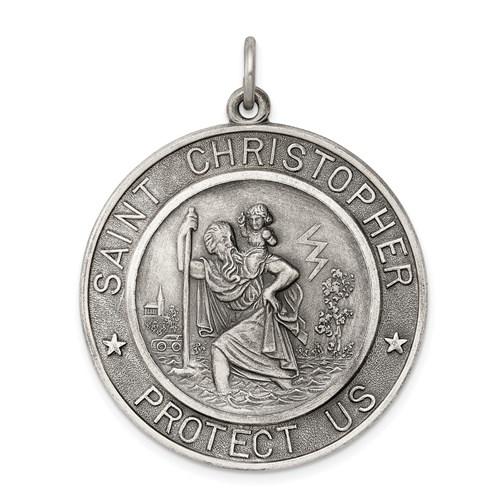 Antiqued Sterling Silver 1 1/4in St. Christopher Medal