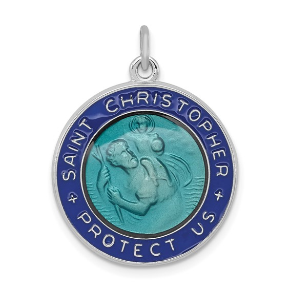 Sterling Silver 3/4in Round Blue Enamel St. Christopher Medal