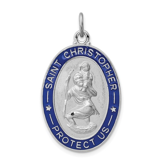 1in Enameled St. Christopher Medal - Sterling Silver
