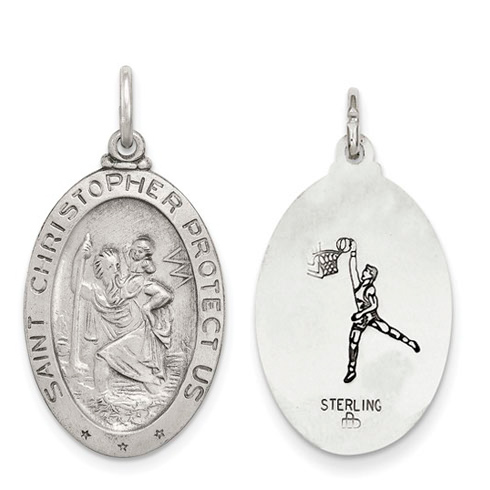 Sterling Silver 1in St. Christopher Basketball Medal