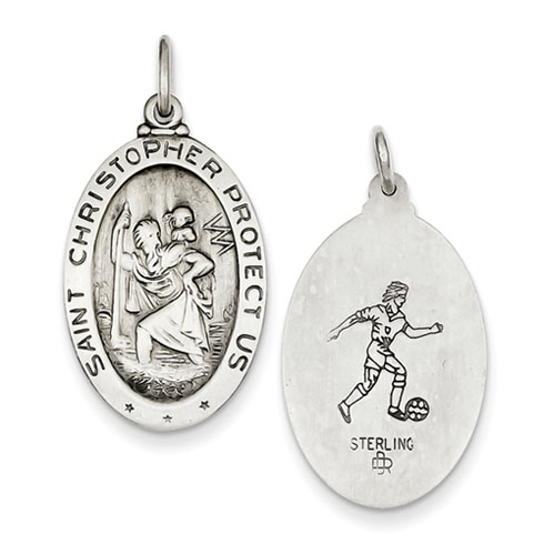 1in St. Christopher Medal Soccer - Sterling Silver