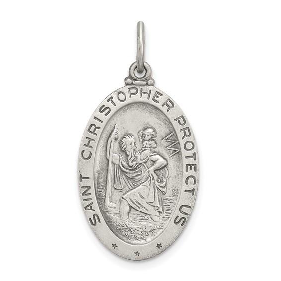 Sterling Silver St. Christopher Medal Soccer 1in