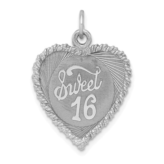 Sterling Silver Sweet Sixteen Heart Charm 5/8in