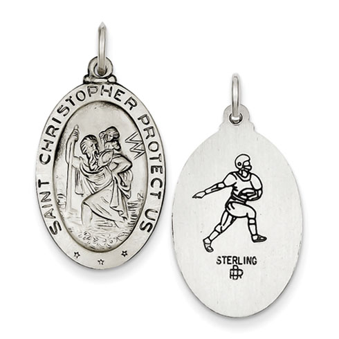 St. Christopher Football Medal 1in - Sterling Silver