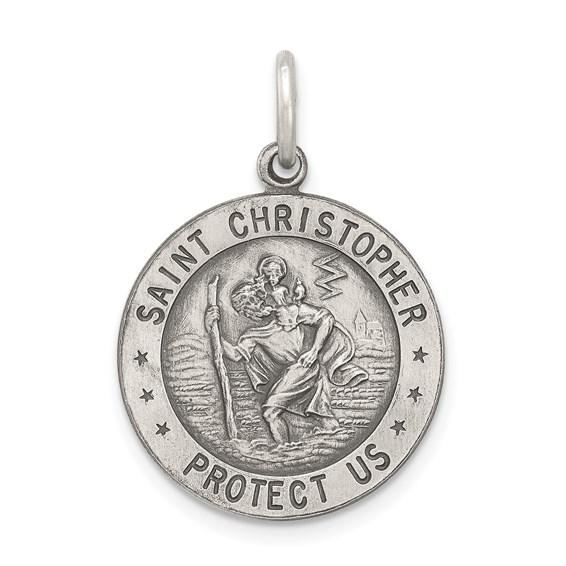 St. Christopher Football Medal 18mm - Sterling Silver
