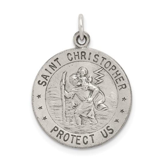 St. Christopher Basketball Medal 18mm - Sterling Silver