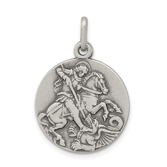 Sterling Silver 3/4in Round St. George Medal