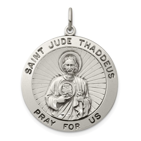 Sterling Silver 1in St. Jude Thaddeus Pray For Us Medal