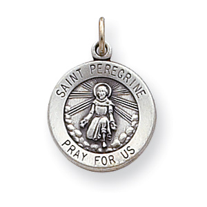 St. Peregrine Medal 9/16in - Sterling Silver