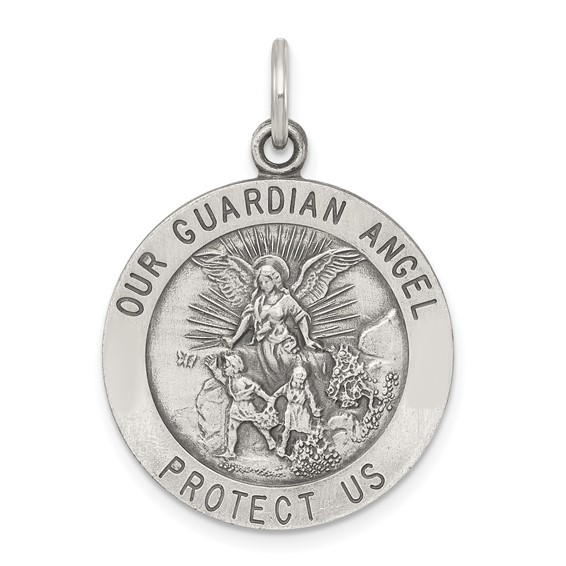 Sterling Silver 7/8in Round Guardian Angel Medal