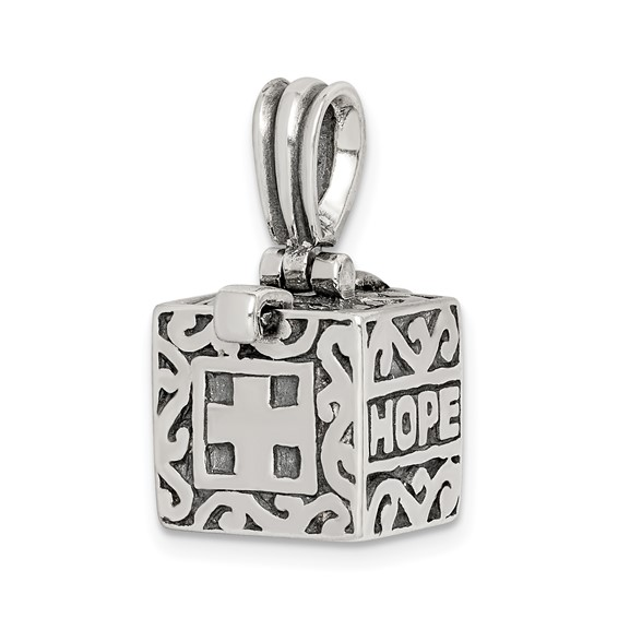 Sterling Silver Faith, Hope, and Charity Prayer Box