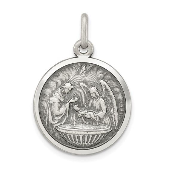 Sterling Silver 3/4in Baptism Medal