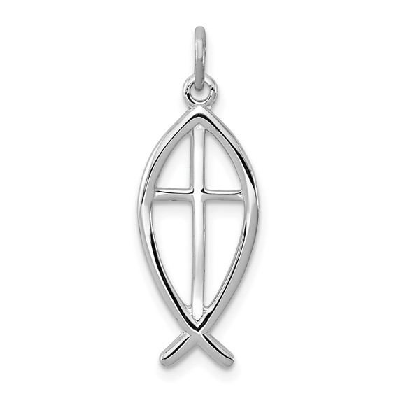 3/4in Fish Charm - Sterling Silver