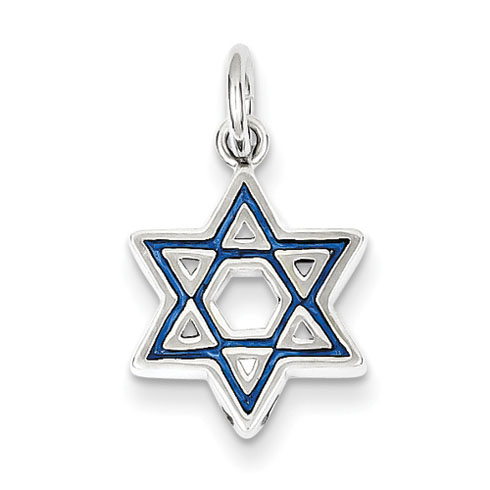 Sterling Silver 1/2in Blue Enameled Star of David Charm