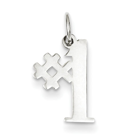 Sterling Silver 1/2in #1 Charm