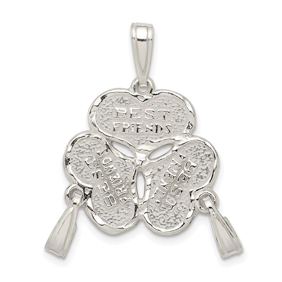 Sterling Silver 3-Piece Best Friends Hearts Charm