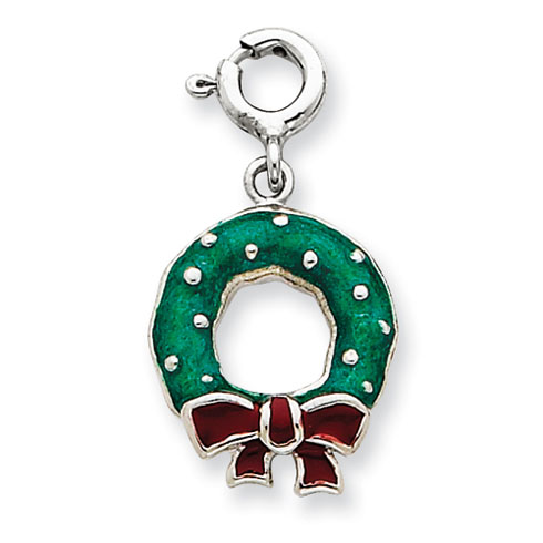 Sterling Silver Rhod Enameled Wreath Charm